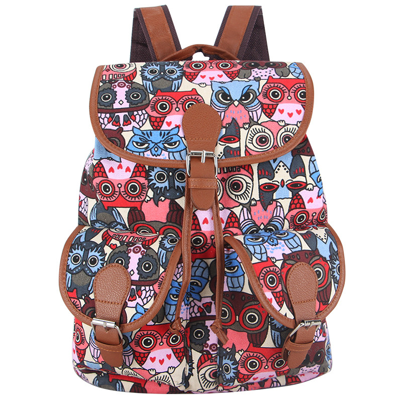 ugglor_owls_rod_bla_multifargad_ryggsack_backpack_idiwa_1