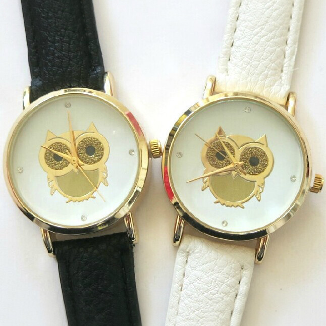 ugglor_guld_glitter_vit_svart_klocka_watch_armbandsur_idiwa_1
